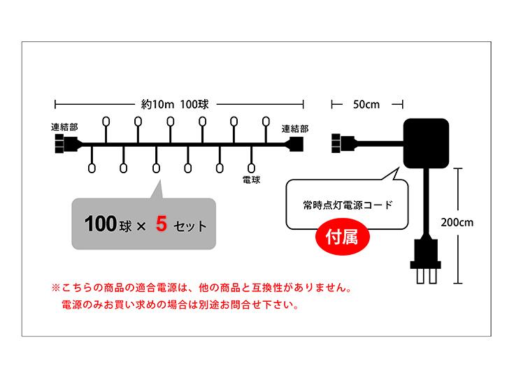 イルミネーションストリングライト日亜500球設計図