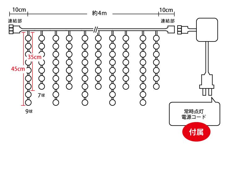 イルミネーションつらら 432球2芯設計図