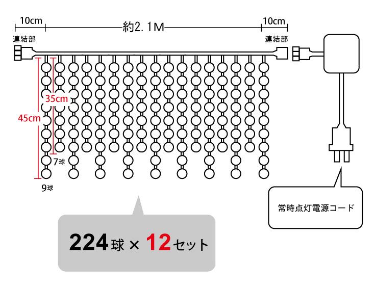 イルミネーションつららHV 224球設計図