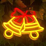 LEDネオンサインデザイン設置例、クリスマスのディスプレイとして人気のベルのデザイン。