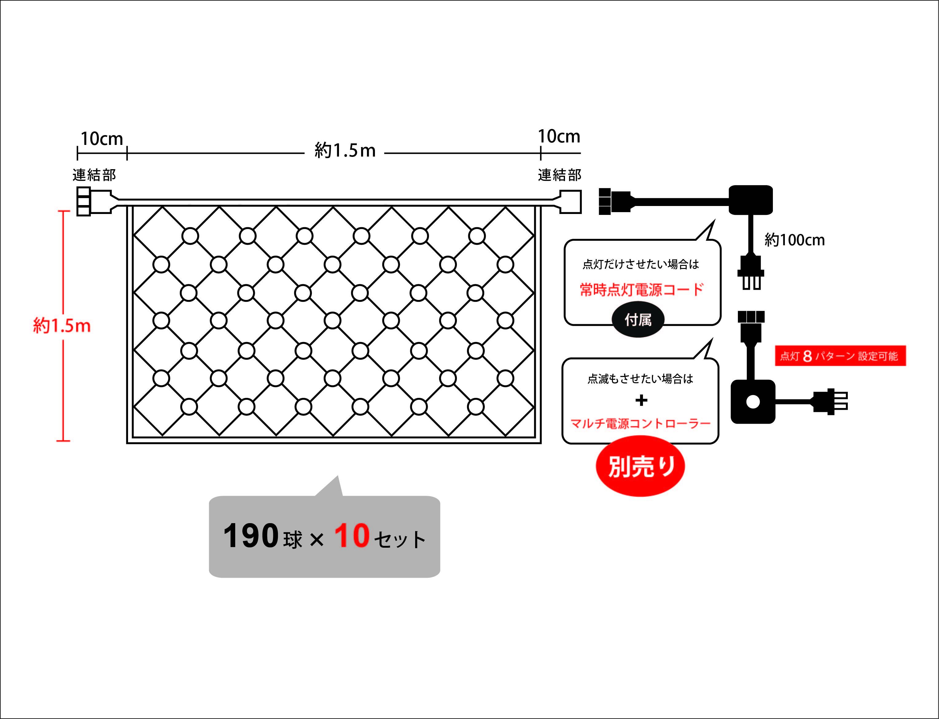 イルミネーションネットライトSK 1900球 設計図