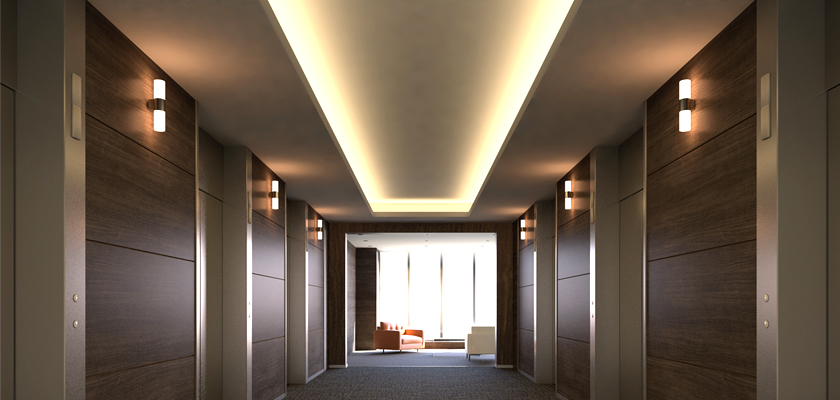 LEDテープライト エレベーターフロアへの使い方・施工