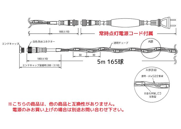 イルミネーションチューブストリングライト日亜160球設計図